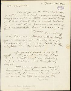 Horace Greeley, New York, autograph letter signed to R. W. Griswold, 15 January 1845