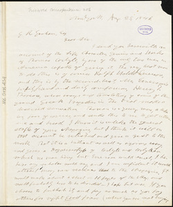 Horace Greeley, New York, autograph letter signed to R. W. Griswold, 24 August 1846