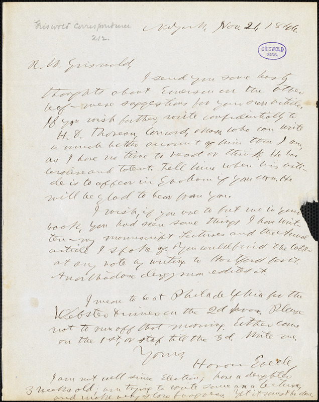 Horace Greeley, New York, autograph letter signed to R. W. Griswold, 21 November 1846
