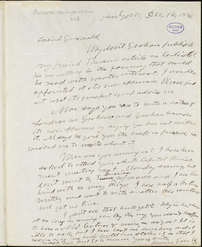 Horace Greeley, New York, autograph letter signed to R. W. Griswold, 16 December 1846