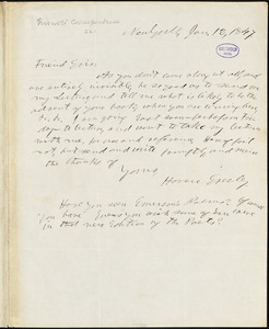 Horace Greeley, New York, autograph letter signed to R. W. Griswold, 12 January 1847
