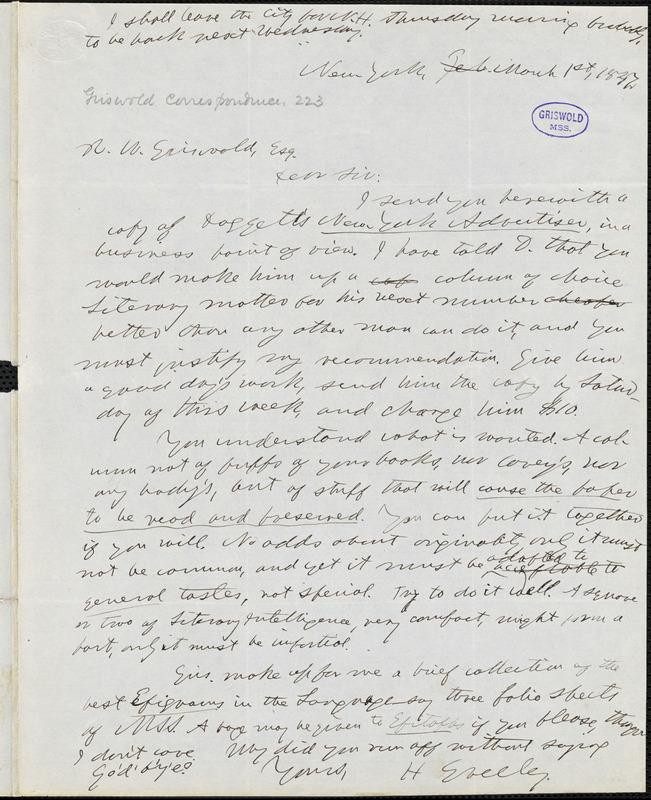 Horace Greeley, New York, autograph letter signed to R. W. Griswold, 1 March 1847