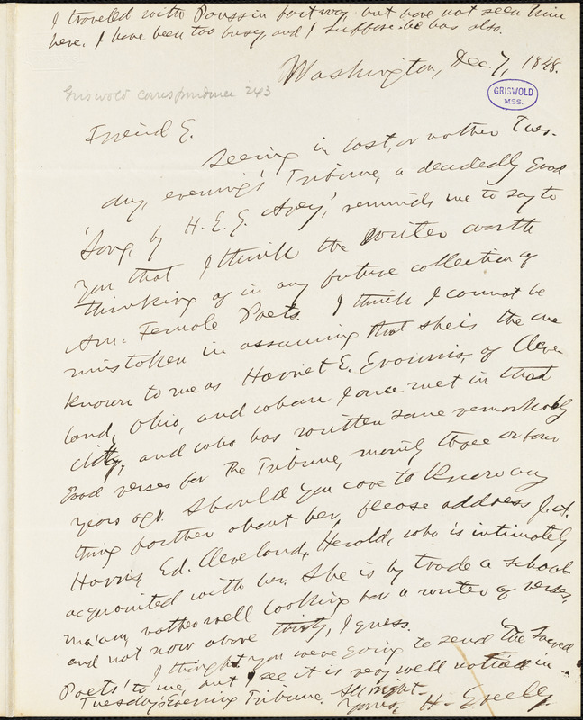 Horace Greeley, Washington, DC., autograph letter signed to R. W. Griswold, 7 December 1848