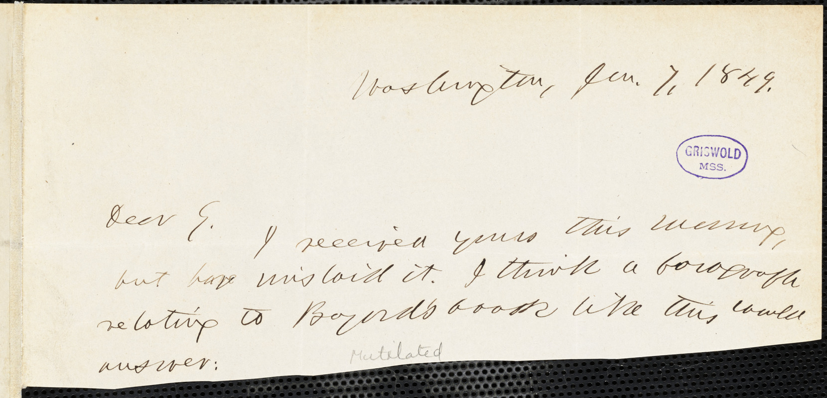 Horace Greeley, Washington, DC., autograph letter signed to R. W. Griswold, 7 January 1849