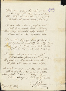 "Albert Gorton Greene manuscript poem, 6 August 1845: ""While strains, to every heart that speak."""