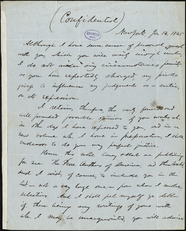 Rufus Wilmot Griswold, New York, autograph letter signed to Edgar Allan Poe, 14 January 1845