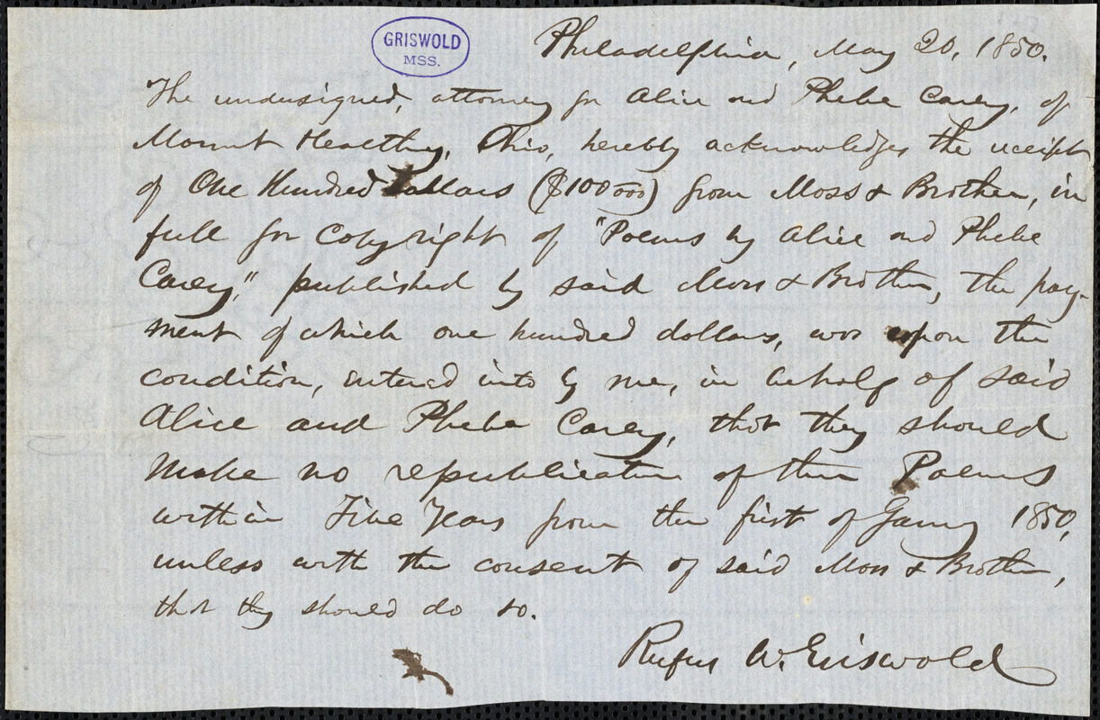 Rufus Wilmot Griswold, Philadelphia, PA., autograph letter signed to Moss & Brothers, 20 May 1850