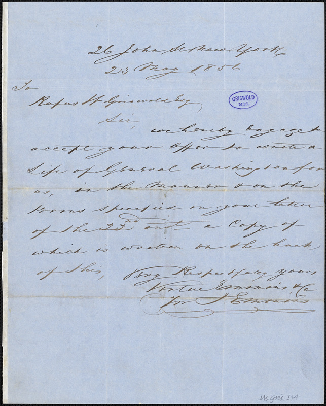 Rufus Wilmot Griswold, New York, autograph letter signed to Virtue Emmins & Co., 22 May 1856