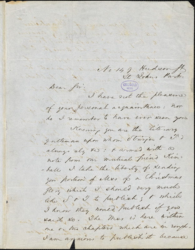 Abraham Oakey Hall, St. Johns Park., autograph letter signed. to [R. W. Griswold?], [October - November 1850?]