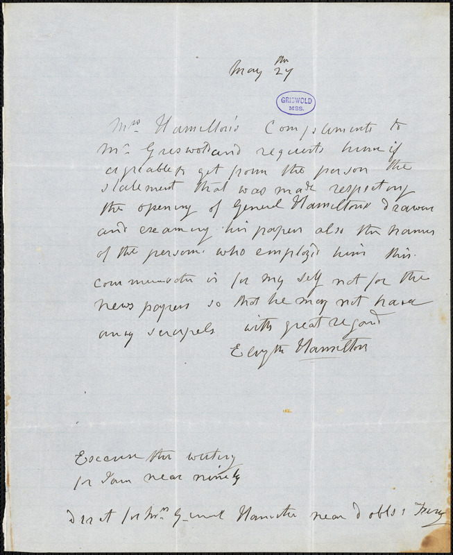Elizabeth (Schuyler) Hamilton autograph letter signed to R. W. Griswold, 27 May [1846-7?]