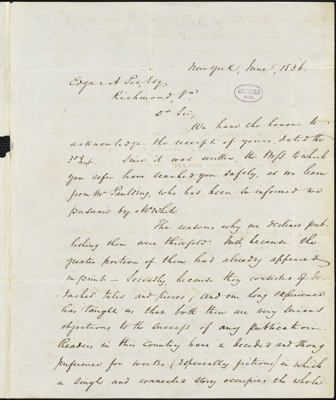Harper and Brothers, New York, autograph letter signed to Edgar Allan Poe, [19] June 1836