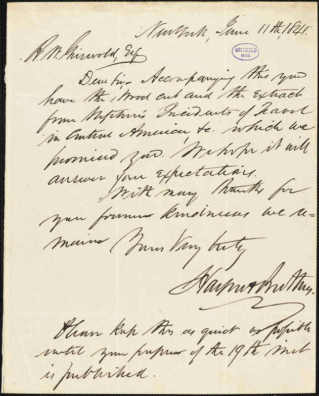 Harper and Brothers., New York, autograph letter signed to R. W. Griswold, 11 June 1841