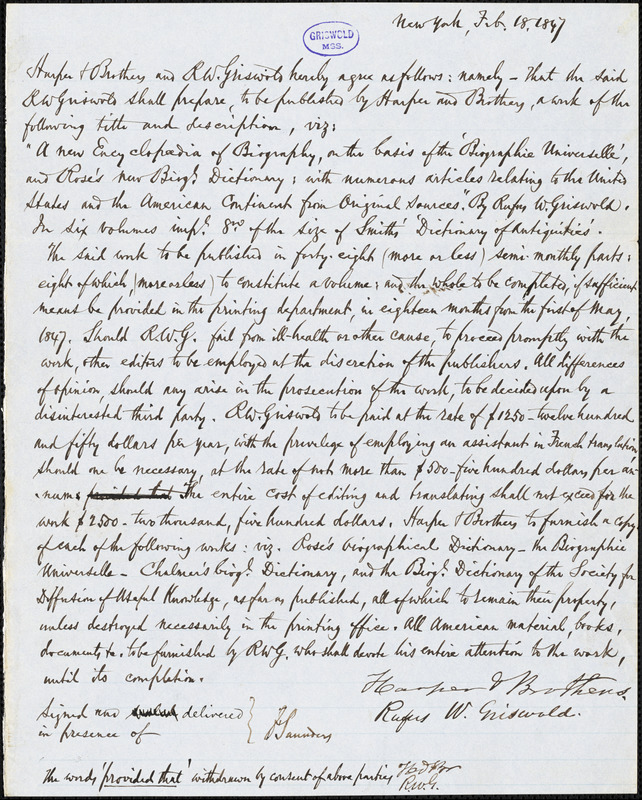 Harper and Brothers, New York, document signed contract with R. W. Griswold, 18 February 1847