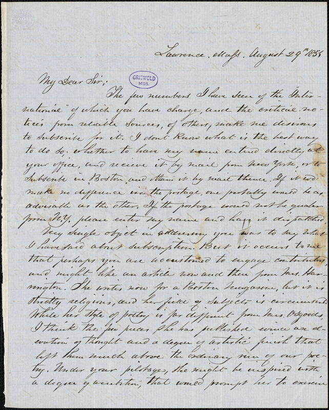 Henry F. Harrington, Lawrence, MA., autograph letter signed to R. W. Griswold, 29 August 1851?