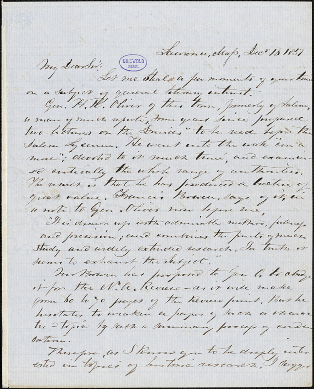 Henry F. Harrington, Lawrence, MA., autograph letter signed, 16 December 1851?