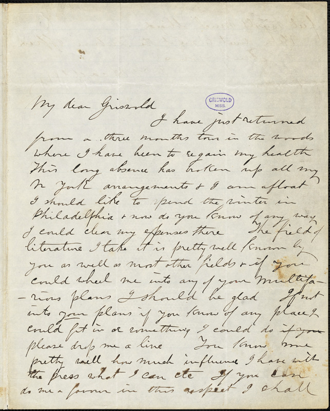 Joel Tyler Headley autograph letter signed to R. W. Griswold, [1847?]