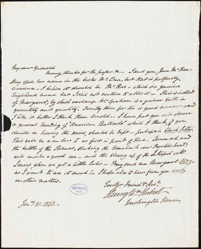 Henry William Herbert, Washington house, autograph letter signed to R. W. Griswold, 31 January 1843