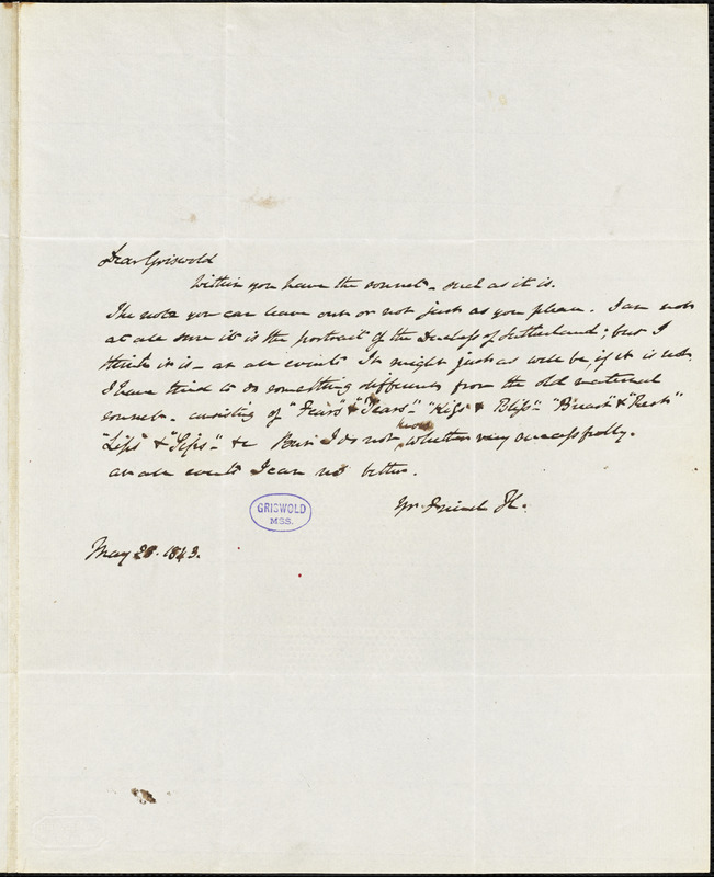 Henry William Herbert autograph letter signed to R. W. Griswold, 28 May 1843