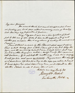 Henry William Herbert, Washington Hotel., autograph letter signed to R. W. Griswold, 21 January 1843