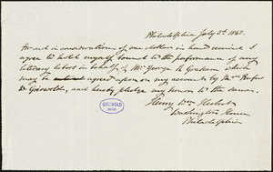Henry William Herbert, Philadelphia, PA., autograph document signed contract, 3 July 1843