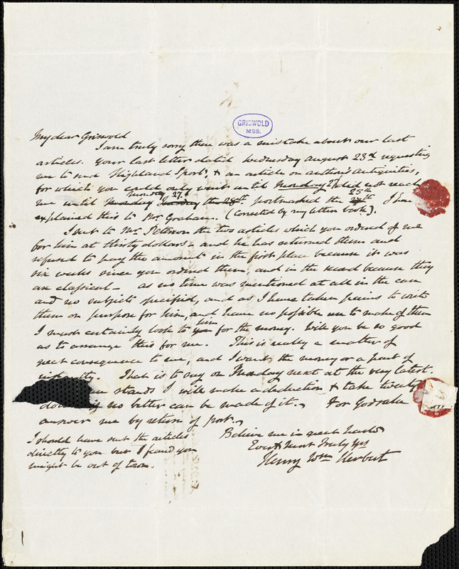 Henry William Herbert, Schooley's Mountain, NJ., autograph letter signed to R. W. Griswold, 4 October 1843