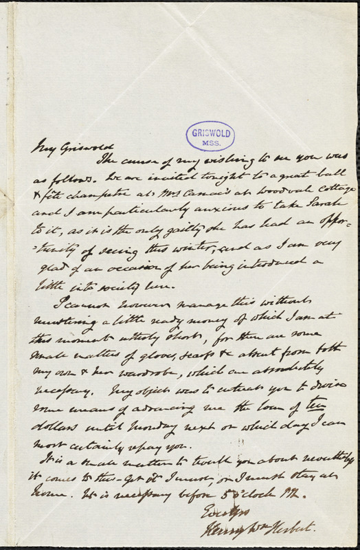 Henry William Herbert autograph letter signed to R. W. Griswold, [1843]