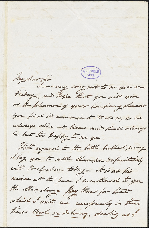 Henry William Herbert autograph letter signed to R. W. Griswold, [1843?]