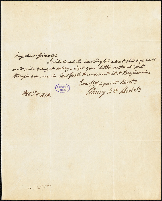 Henry William Herbert autograph letter signed to R. W. Griswold, 8 February 1844
