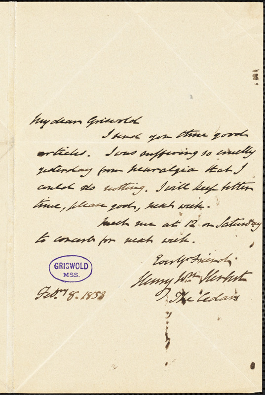 Henry William Herbert, The Cedars., autograph letter signed to R. W. Griswold, 8 February 1853