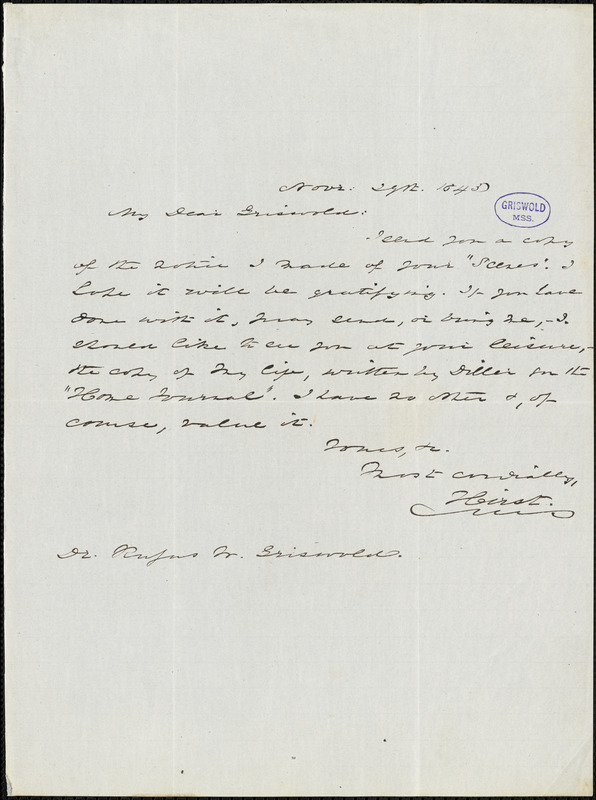 Henry Beck Hirst autograph letter signed to R.W. Griswold, 29 November 1845