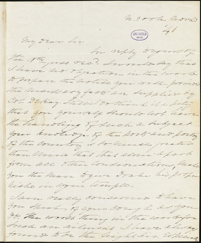 Charles Fenno Hoffman, New York, autograph letter signed to R. W. Griswold, 23 November 1841