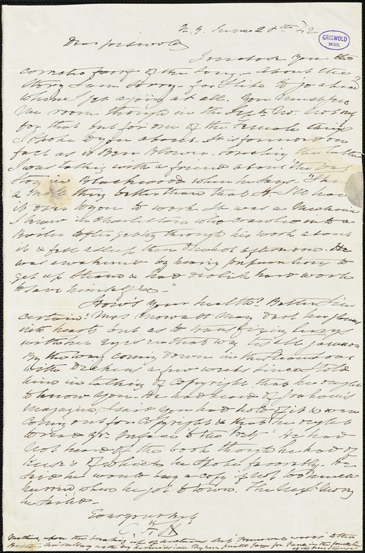 Charles Fenno Hoffman, New York, autograph letter signed to R. W. Griswold, 28 June 1842