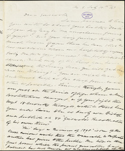 Charles Fenno Hoffman, New York, autograph letter signed to R. W. Griswold, 10 February 1843