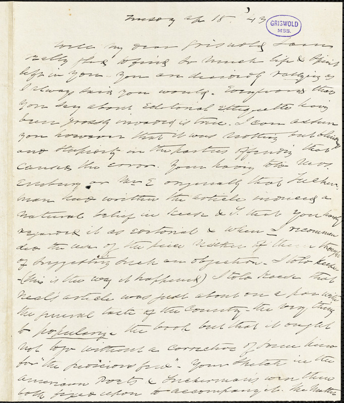 Charles Fenno Hoffman autograph letter signed to R. W. Griswold, 18 April 1843