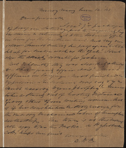 Charles Fenno Hoffman, New York, autograph letter signed to R. W. Griswold, 12 June 1843
