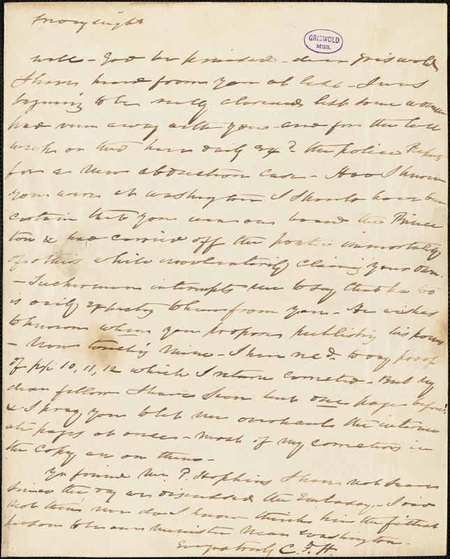 Charles Fenno Hoffman, New York, autograph letter signed to R. W. Griswold, [17 March 1844?]