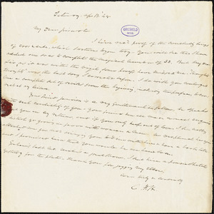 Charles Fenno Hoffman, New York, autograph letter signed to R. W. Griswold, 13 April 1844