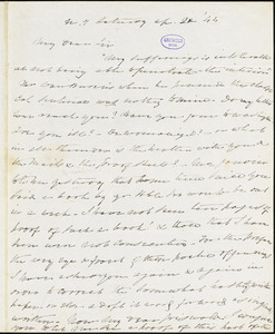 Charles Fenno Hoffman, New York, autograph letter signed to R. W. Griswold, 20 April 1844