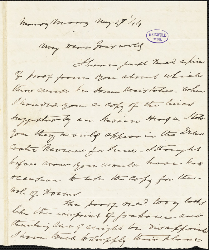 Charles Fenno Hoffman, New York, autograph letter signed to R. W. Griswold, 27 May 1844