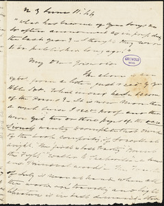 Charles Fenno Hoffman, New York, autograph letter signed to R. W. Griswold, 11 June 1844