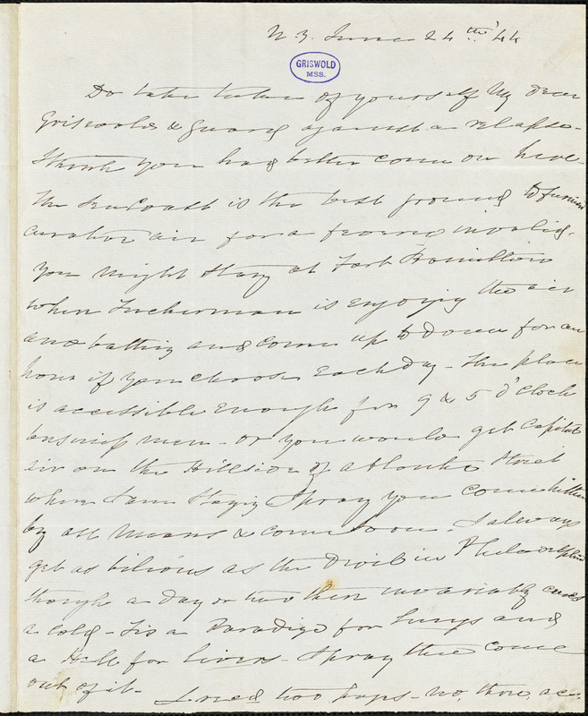 Charles Fenno Hoffman, New York, autograph letter signed to R. W. Griswold, 24 June 1844
