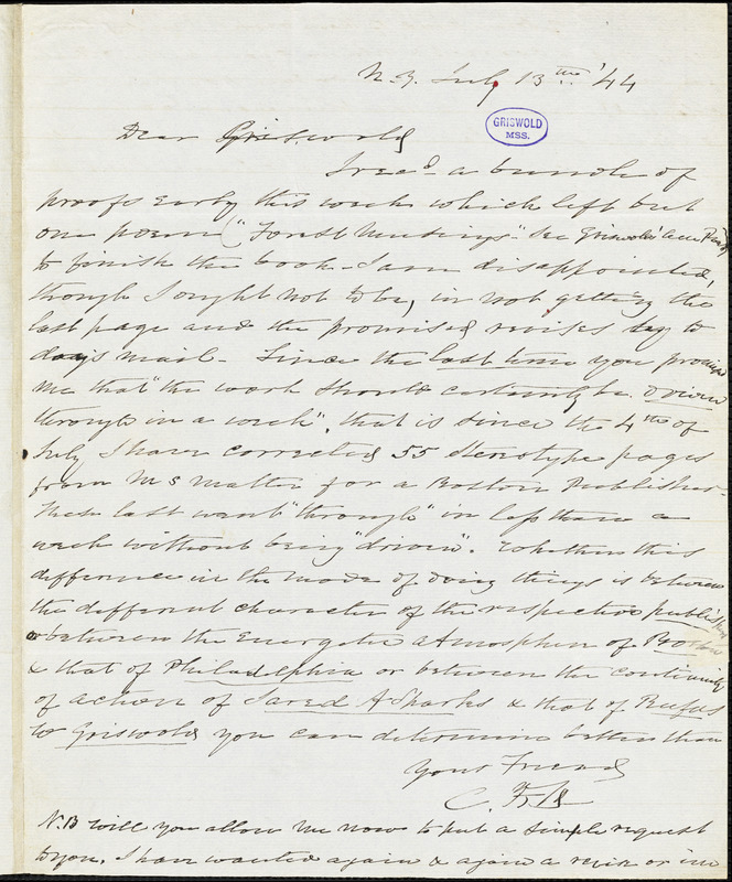 Charles Fenno Hoffman, New York, autograph letter signed to R. W. Griswold, 13 July 1844