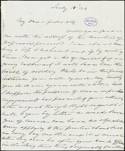 Charles Fenno Hoffman autograph letter signed to R. W. Griswold, 18 July 1844