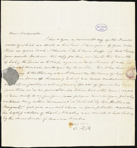 Charles Fenno Hoffman, New York, autograph letter signed to R. W. Griswold, [25 October 1844?]