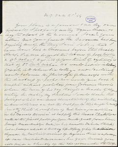 Charles Fenno Hoffman, New York, autograph letter signed to R. W. Griswold, 28 December 1844
