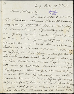 Charles Fenno Hoffman, New York, autograph letter signed to R. W. Griswold, 19 February 1845