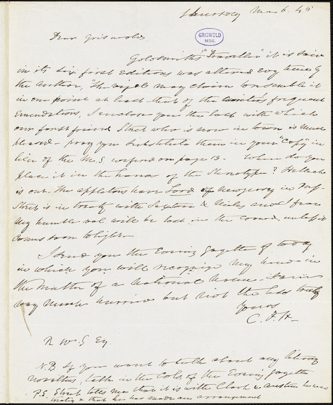 Charles Fenno Hoffman, New York, autograph letter signed to R. W. Griswold, 6 March 1845