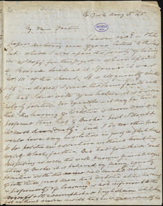 Charles Fenno Hoffman, New York, autograph letter signed to R. W. Griswold, 5 August 1845