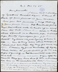 Charles Fenno Hoffman, New York, autograph letter signed to R. W. Griswold, 29 December 1845
