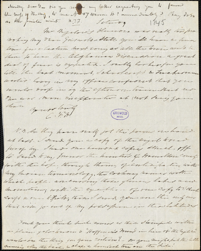 Charles Fenno Hoffman, Saturday., autograph letter signed to R. W. Griswold, [May 1845?]